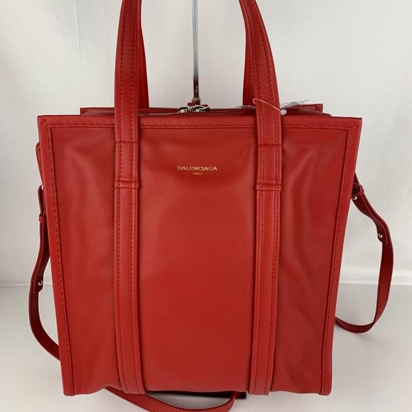 3909270a14be New Balenciaga Red Italian Small Bazar Shopper